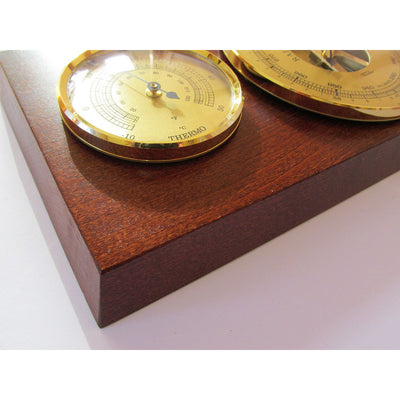 Modern Fischer Mahogany and Brass Weatherstation 9103-22