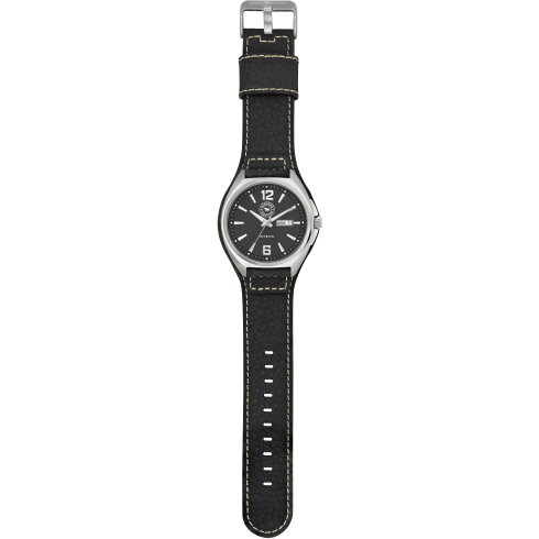 Outback Black Leather Work Watch - Black Dial