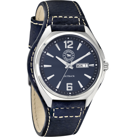 Outback Black Leather Navy Dial Work Watch