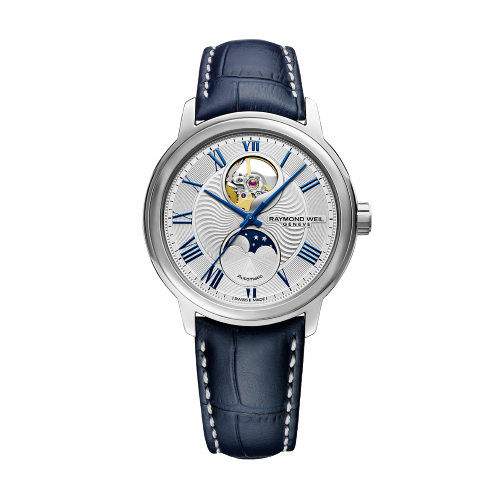 Maestro Moon Phase, Visible Balance Wheel, Automatic Leather Watch