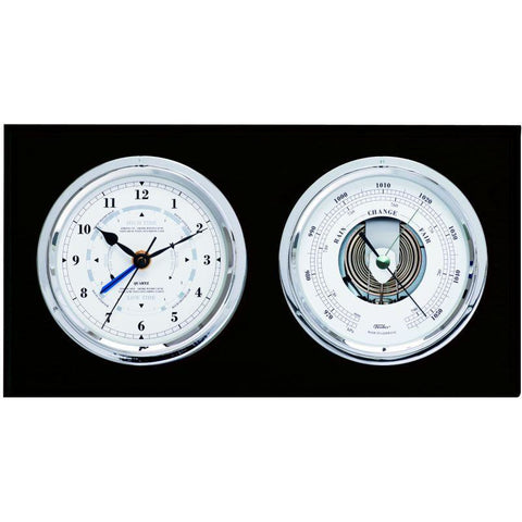 Black & Chrome Barometer & Tide clock Combo 1486gu-06