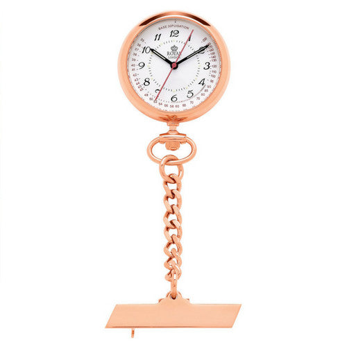 Rose gold nurses watch with sweeping hand