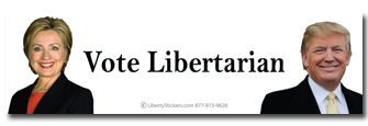 """Vote Libertarian Hillary Trump"" Bumper Sticker"