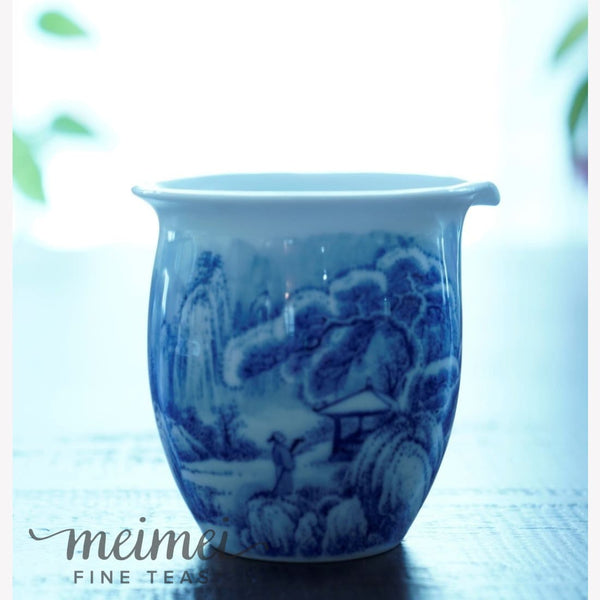 Artisan Blue and White Snow Mountain Fair Cup Pitcher 380ml/12.8oz - MeiMei Fine Teas