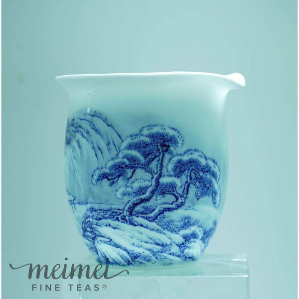 Artisan Blue and White Snow Mountain Fair Cup Pitcher - MeiMei Fine Teas