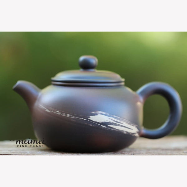 Artisan Jianshui Clay Classic Shape Feather Brush Teapot Wood-fired - MeiMei Fine Teas
