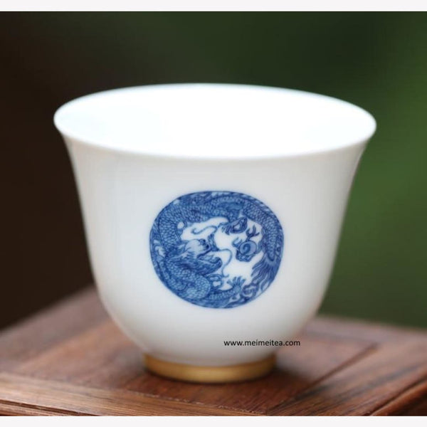 Blue and White Porcelain Tea Cup Antique Porcelain Dragon and Phoenix - MeiMei Fine Teas