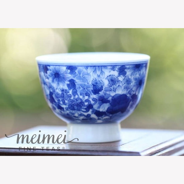 Blue and White Porcelain Tea Cup Floral Hand Crafted 70ml - MeiMei Fine Teas