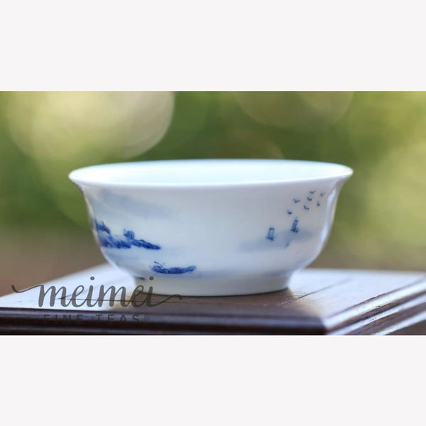 Blue and White Porcelain Tea Cup Landscape 70ml - MeiMei Fine Teas