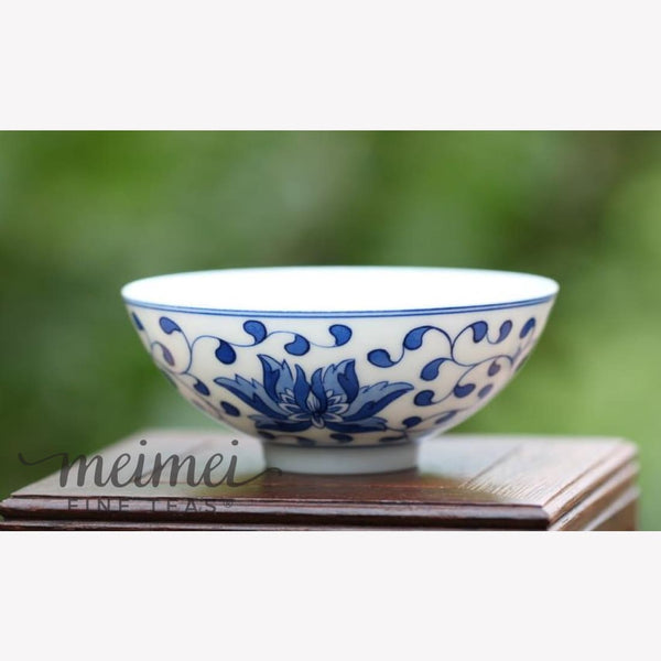 Contemporary Blue and White Porcelain Gongfu Tea Cup - Floral Handcrafted - MeiMei Fine Teas