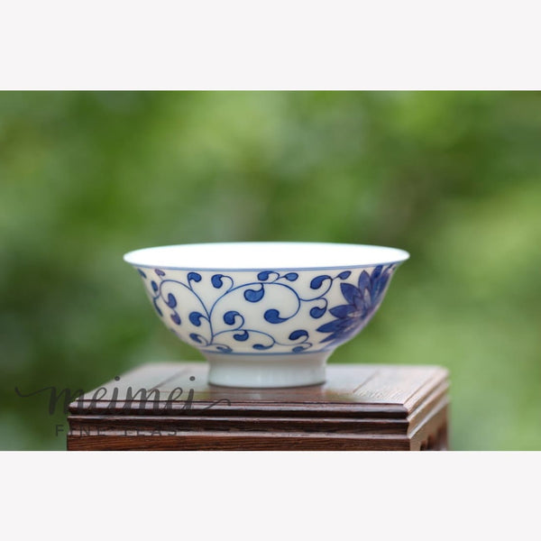 Contemporary Blue and White Porcelain Gongfu Tea Cup - Floral Handcrafted - Ware MeiMei Fine Teas