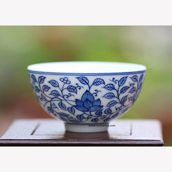 Contemporary Blue and White Porcelain Tea Cup / Bowl - Floral Handcrafted - MeiMei Fine Teas