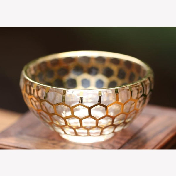 Gold Plating Glass Tea Cup Honeycomb Hand Crafted - MeiMei Fine Teas