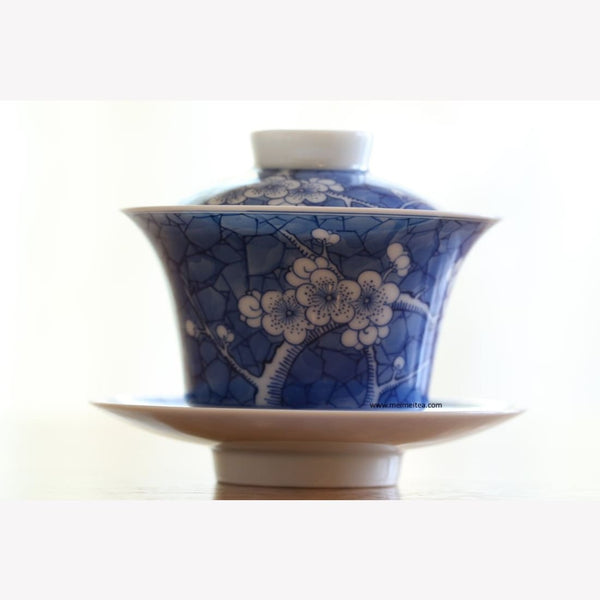 Jingdezhen Blue and White Porcelain Gaiwan Ice Crackle Glaze - MeiMei Fine Teas