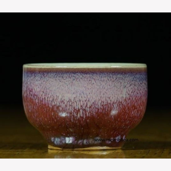 Jun Ci Porcelain Tea Cup Red Purple and Blue Impression - MeiMei Fine Teas