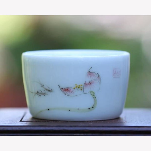 Porcelain Tea Cup Fish and Lotus Harmony 75ml - MeiMei Fine Teas