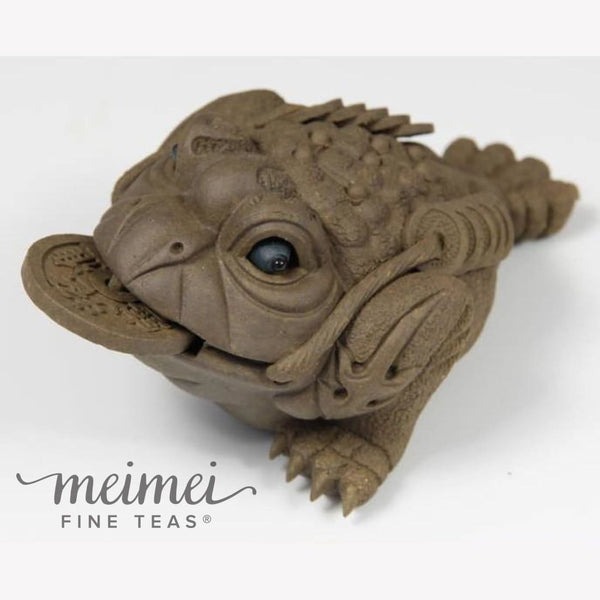 Tea Pet Lucky Toad With Movable Eyes and Rotating Coin Handmade - MeiMei Fine Teas
