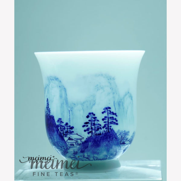 Treasure Blue and White Porcelain Tea Cup Distant Mountain Painting 120ml - MeiMei Fine Teas