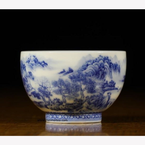Treasure Blue and White Porcelain Tea Cup Elaborately Styled Landscape 90ml - MeiMei Fine Teas