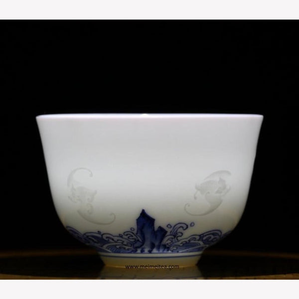 Treasure Blue and White Porcelain Tea Cup Five Bats Happiness Relief 85ml - MeiMei Fine Teas
