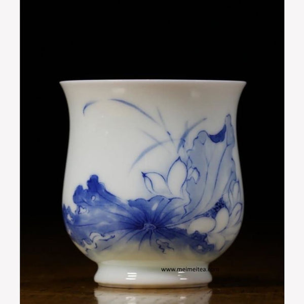Treasure Blue and White Porcelain Tea Cup Lotus 120ml - MeiMei Fine Teas
