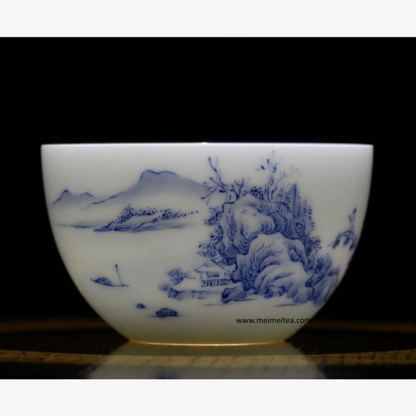 Treasure Blue and White Porcelain Tea Cup Masterpiece Landscape 150ml - MeiMei Fine Teas