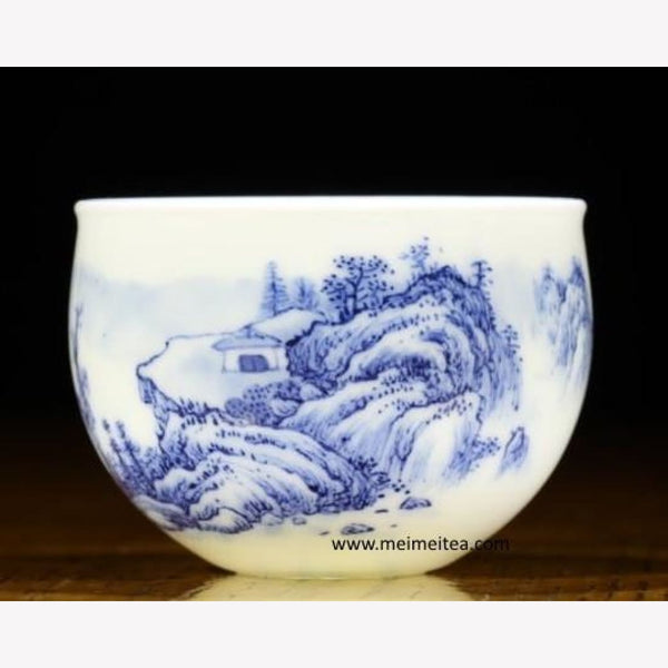 Treasure Blue and White Porcelain Tea Cup Masterpiece Landscape 80ml - MeiMei Fine Teas