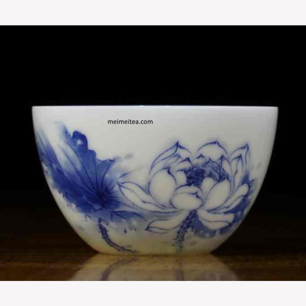Treasure Blue and White Porcelain Tea Cup Masterpiece Lotus 150ml - MeiMei Fine Teas