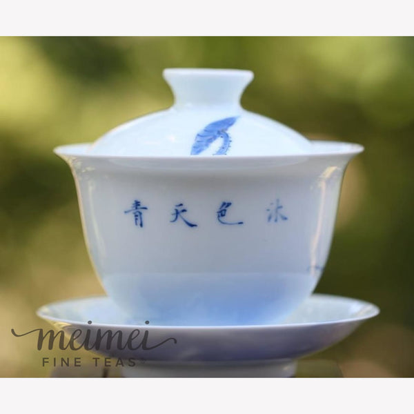 Treasure White and Blue Porcelain Gaiwan Lotus 175ml - MeiMei Fine Teas