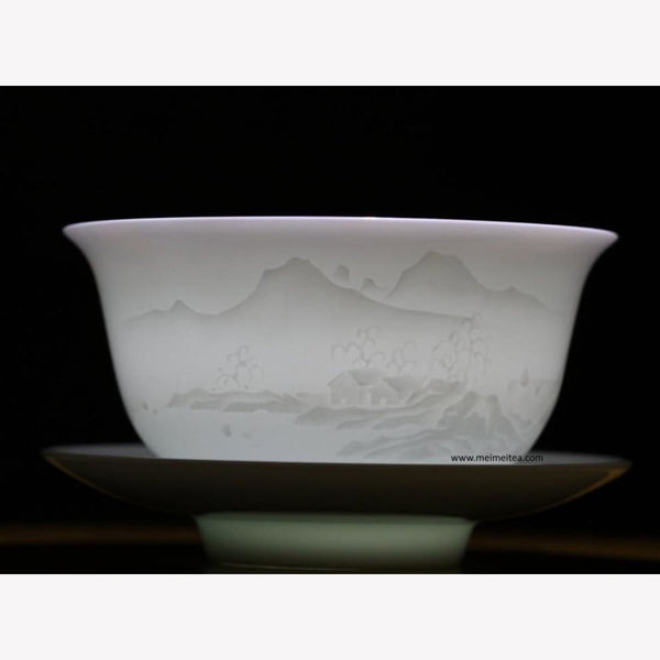 Treasure White Porcelain Gaiwan Masterpiece Landscape 200ml - MeiMei Fine Teas