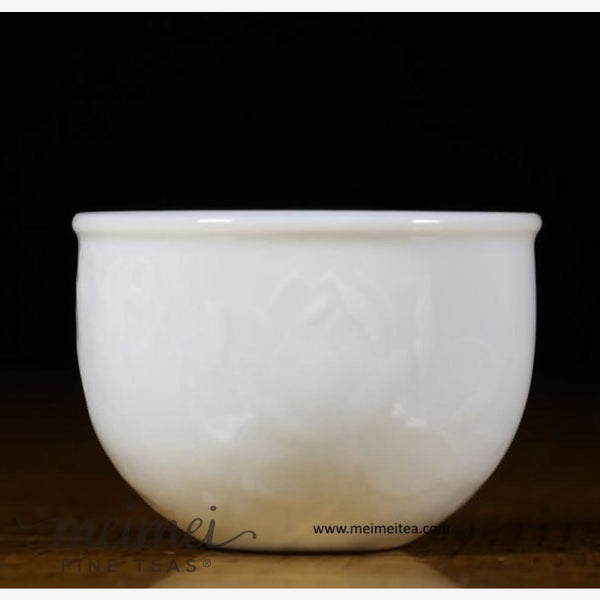 Treasure White Porcelain Tea Cup Elaborate Lotus Flower Relief 80ml - MeiMei Fine Teas