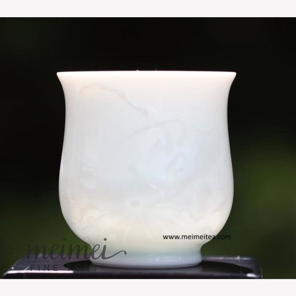 Treasure White Porcelain Tea Cup Elaborate Lotus Relief 120ml - MeiMei Fine Teas