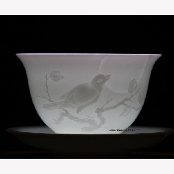 Treasure Yingqing White Porcelain Gaiwan Masterpiece Bird and Moon 200ml - MeiMei Fine Teas
