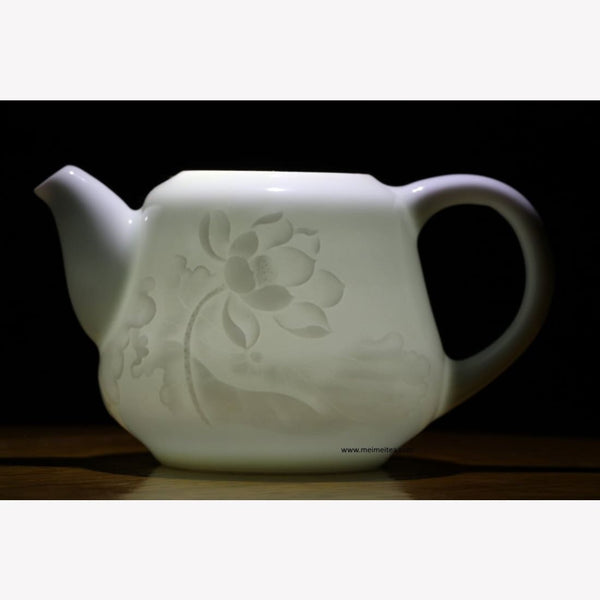 Treasure Yingqing White Porcelain Teapot Elaborate Lotus Relief 300ml - MeiMei Fine Teas