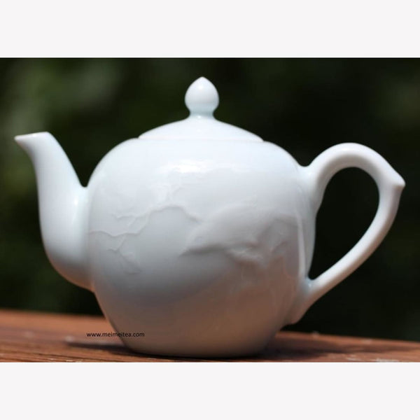 Treasure Yingqing White Porcelain Teapot Masterpiece Bird and Moon - MeiMei Fine Teas