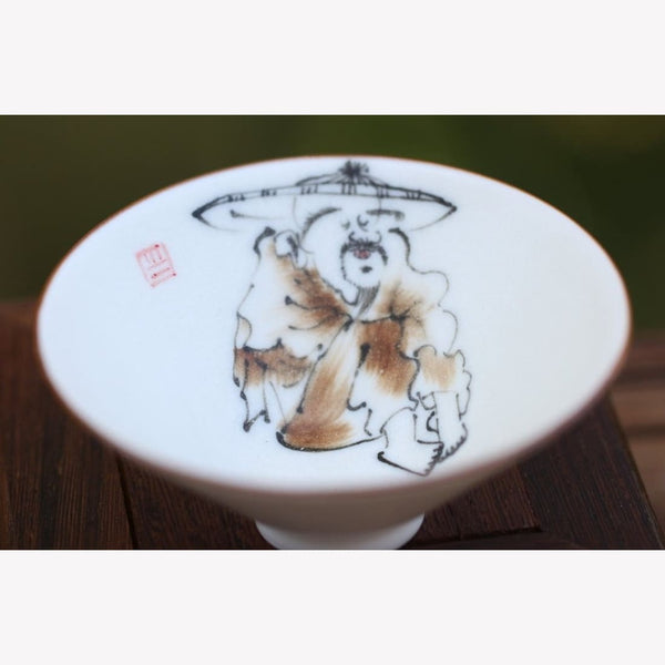 White Porcelain Tea Cup Bowl Hat Fisher Figure 80ml - MeiMei Fine Teas
