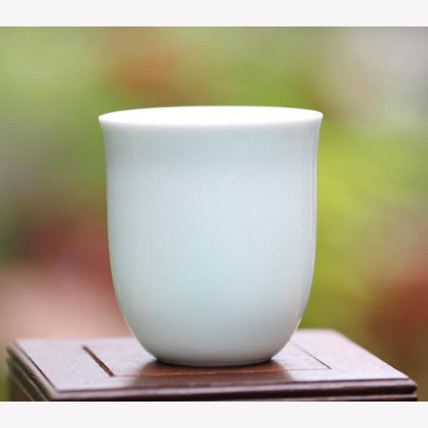 White Porcelain Tea Cup Tall Hand Crafted 100ml - MeiMei Fine Teas