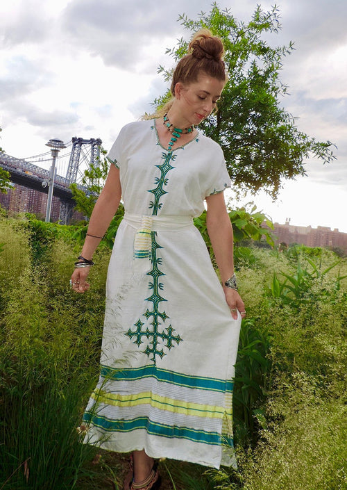Traditional Ethiopian Hand Woven Cotton Dress- Abeba
