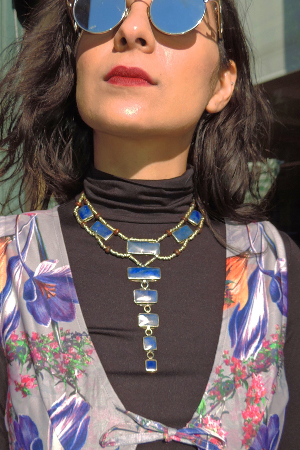 Afghan Pyramid Necklace - LAPIS
