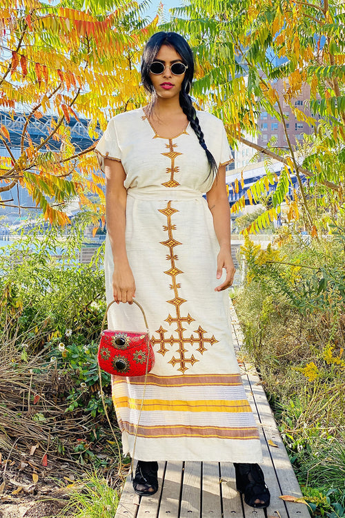 Traditional Ethiopian Hand Woven Cotton Dress- Afifa