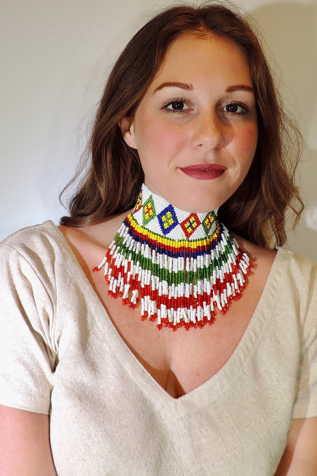 Tribal Beaded Afghani Choker
