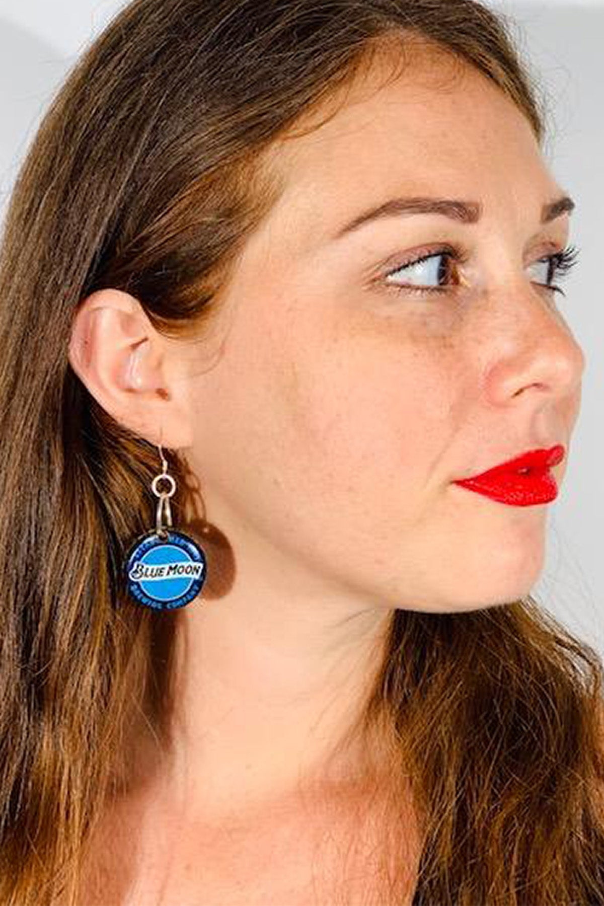 Blue Moon Bottle Cap Earrings