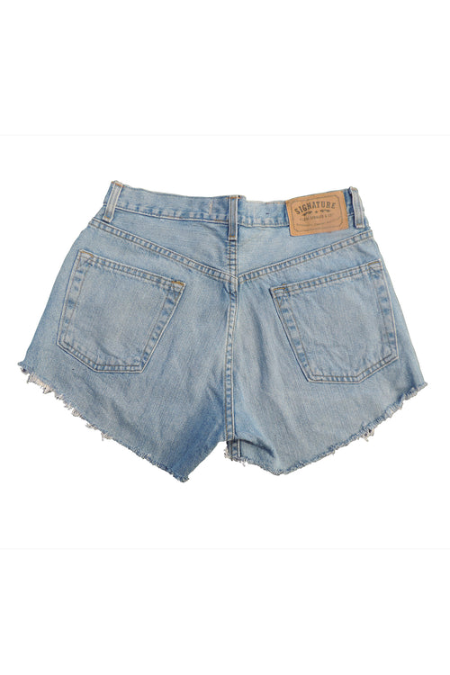 BoBo- Upcycled  Denim Shorts- Bolivian Textile- Levi's Signature 30""