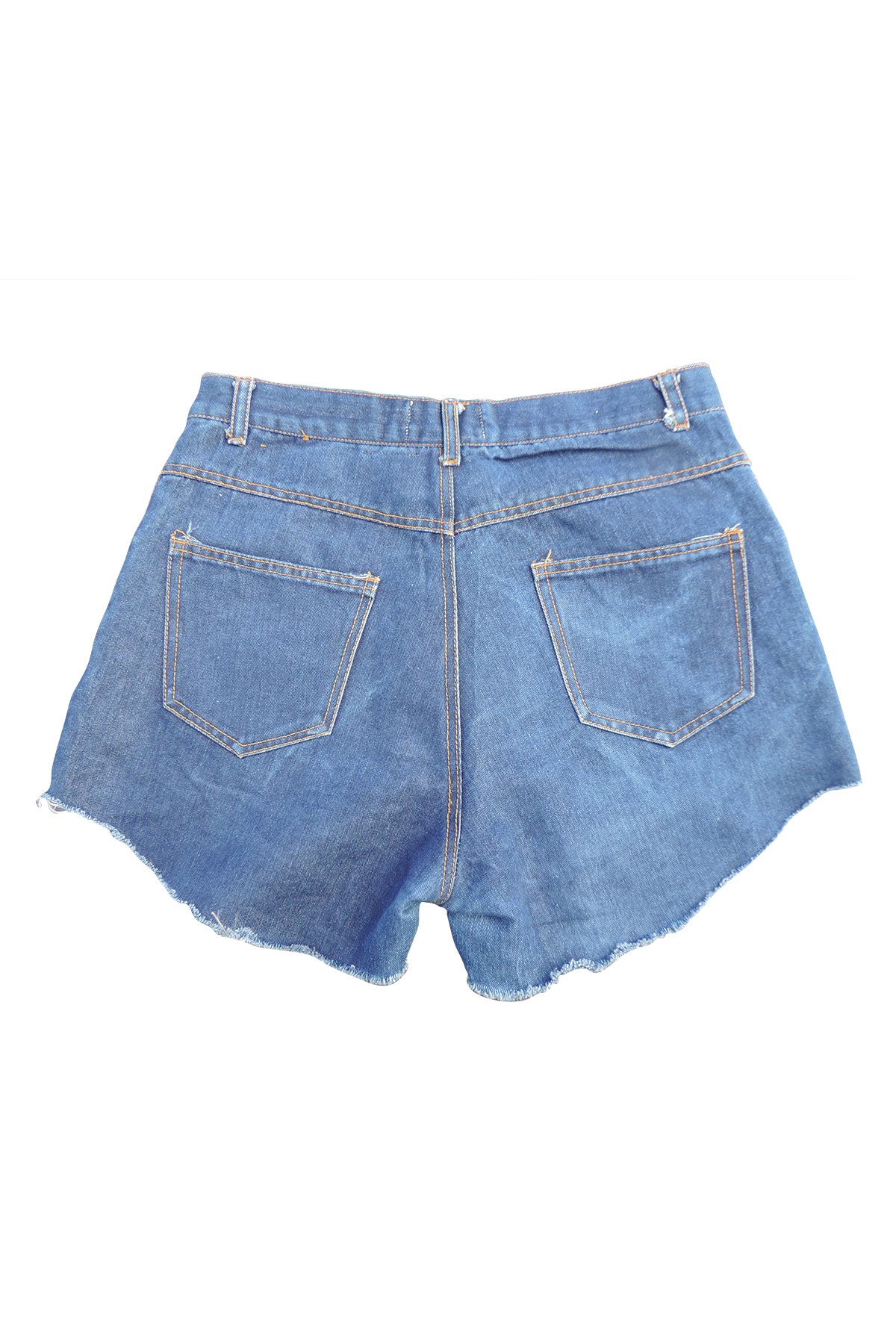 BoBo- Upcycled  Denim Shorts- Bolivian Textile- Commited Sz 11/12 31""