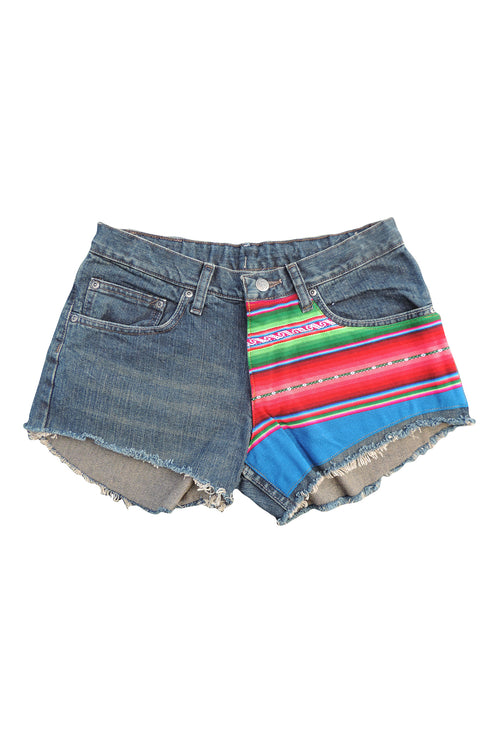 BoBo- Upcycled  Denim Shorts- Bolivian Textile- Lee's Premium Select 30""