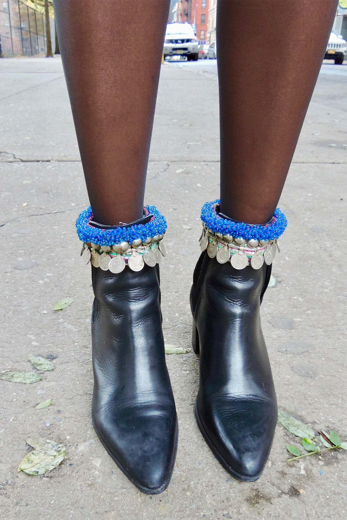 Afghan Vintage Boot Adornments With Coins