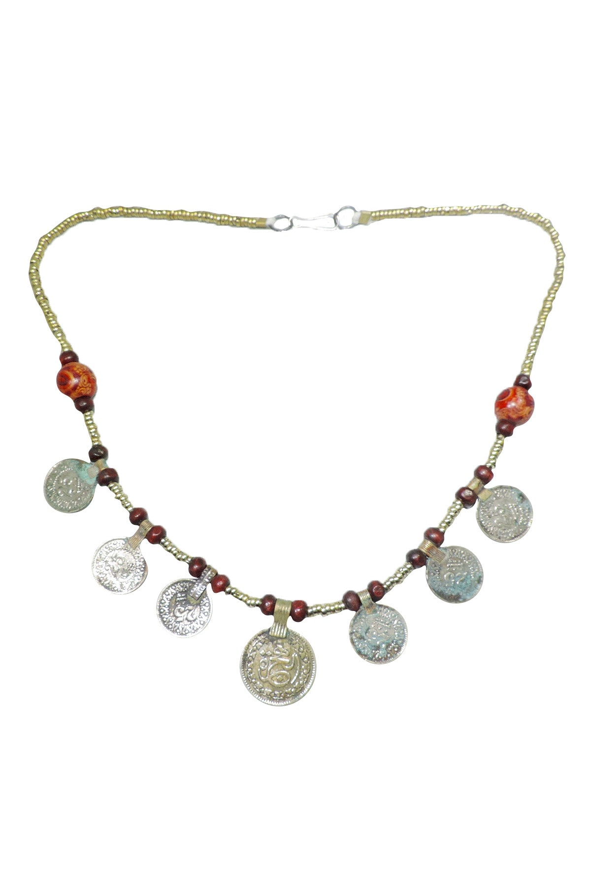Tribal coin necklace with wooden beads