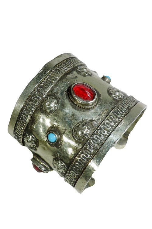 Vintage Turkmen Red And Turquoise Cuff