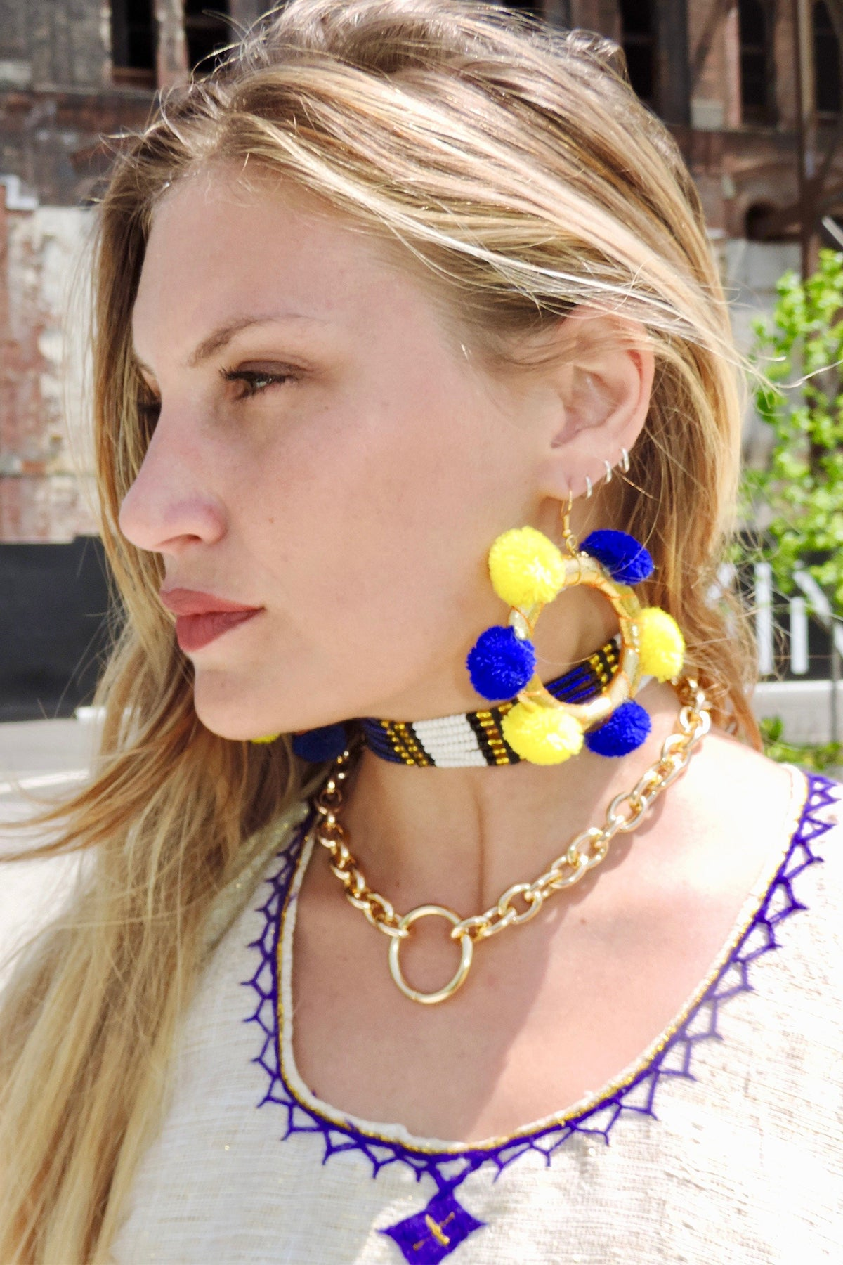 Fiesta Hoops- Blue/Yellow