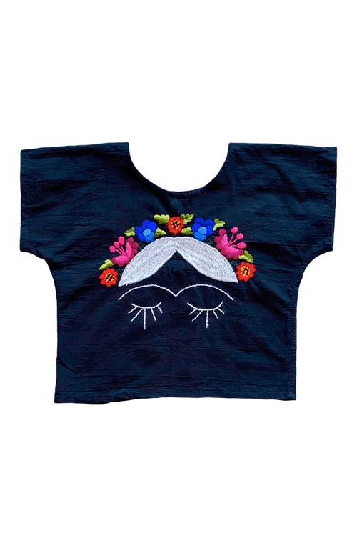 The BoBo Embroidered Frida- Mexican Garden Crown On Short Black - Small
